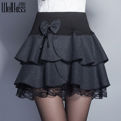 Well Kiss Korean version of the fall and winter woolen stitching lace elastic waist skirts tutu skirt pleated princess big yards