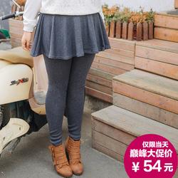 [双11新品]特大码女装胖mm秋冬圆摆加绒加厚假两件打底裤裙