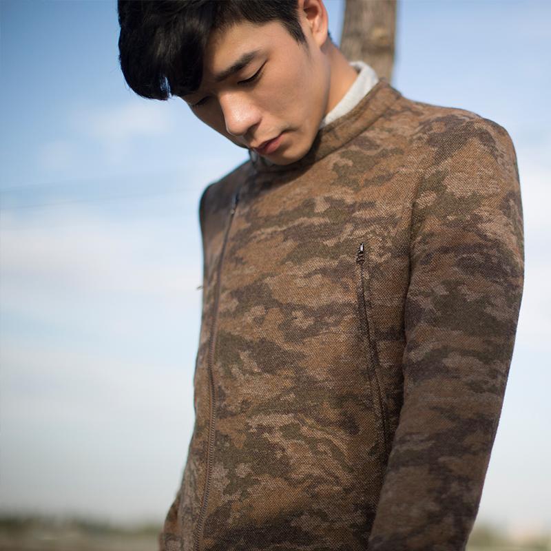 几立|迷彩夹克外套男士秋冬修身型夹克复古风迷彩外套原创潮
