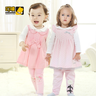 0-1-year-old female baby spring autumn baby suits 2-year-old female Tong Chunqiu baby suit out clothes 0-1-2 years old