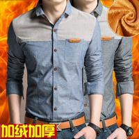 冬装青年保暖加绒加厚男士长袖衬衫修身男装加棉带绒小领商务衬衣