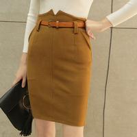 秋冬韩版高腰毛呢半身裙显瘦A字裙短裙包臀裙送腰带