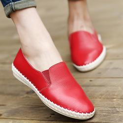 闽羊平底小白鞋真皮妈妈鞋大码女鞋护士鞋镂空豆豆鞋女休闲女单鞋