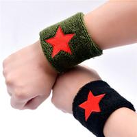水兵舞军绿色五角星护腕男女吸汗毛巾运动护腕篮球健身手腕护具