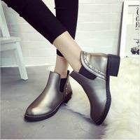 2015冬季新款马丁靴加绒加厚保暖一脚蹬短靴铆钉韩版女鞋圆头棉鞋