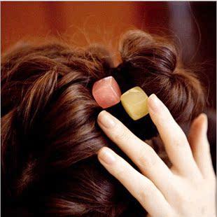 韩国发饰方块果冻糖果色发圈高档发绳皮筋可爱扎长头绳小饰品批发