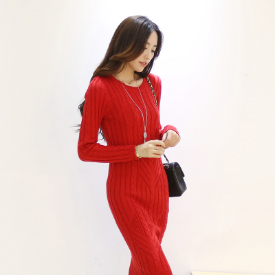 Fu Liang Lin 2014 autumn and winter knit sweater dress long-sleeved thick package hip Slim bottoming twist dress temperament