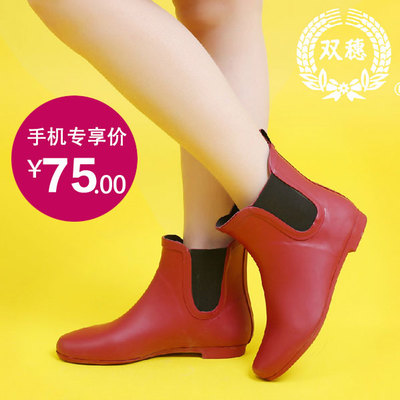 Double spike fall and winter fashion simple flat matt wellies rain boots Duantong female casual and comfortable rubber boots overshoes