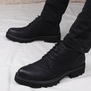 尖头短靴男士韩版英伦马丁靴男皮靴厚底高帮男鞋休闲内增高皮鞋男