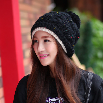 Ms. Korean tidal winter hat warm hat knitted hat for men and women in autumn and winter wool hat cap Baotou plus balaclavas