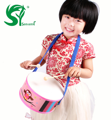 Children wooden snare drum hit musical instruments Orff percussion aids nursery hand drums wooden toys
