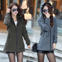 2015胖mm冬装外套女中长款加肥加大码韩版宽松加厚保暖卫衣200斤