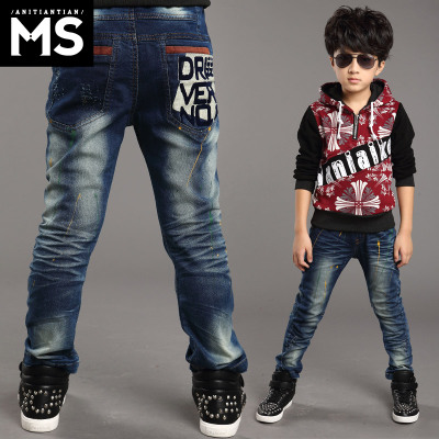 Kids boy pants 2014 new wave of children's fashion jeans child big virgin child slacks