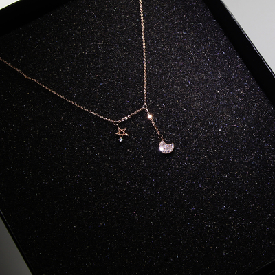 High-end custom necklace female South Korean temperament moon stars May 2014 short paragraph clavicle chain pendant birthday gift