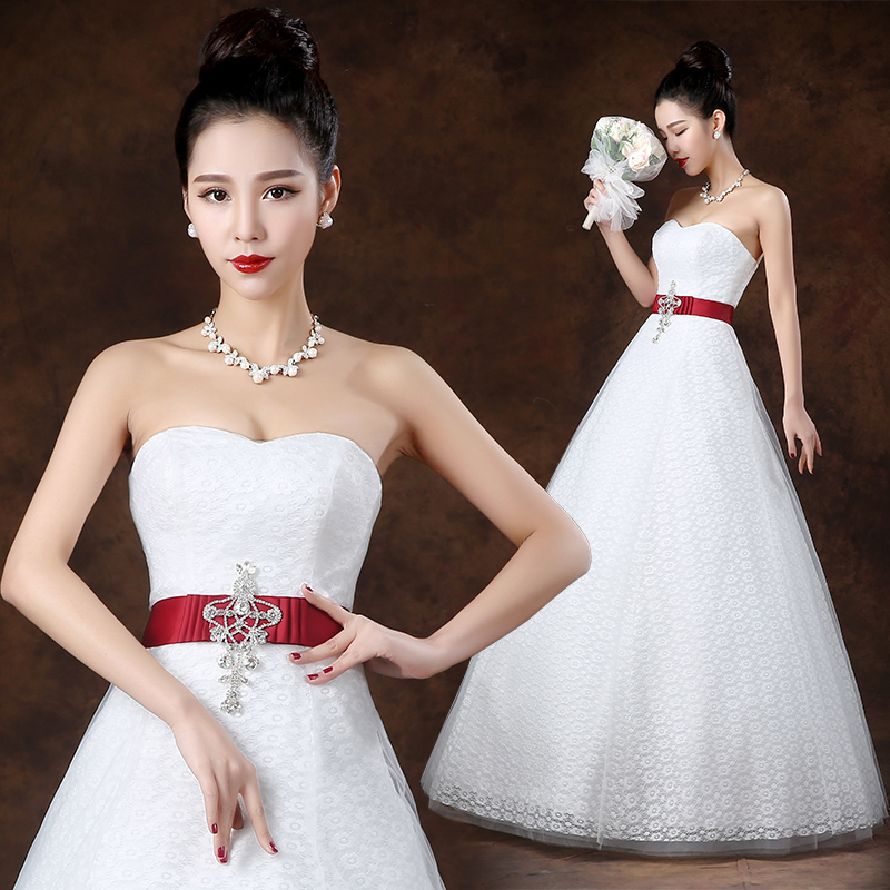 Wedding dress 2015 new fashion Korean version was thin lace princess Qi Bra straps wedding dress A