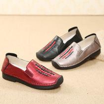 妈妈鞋女奶奶单鞋真皮春秋舒适浅口防滑软底中老年人平跟老人皮鞋