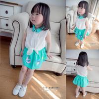 女童套装 韩版2015夏装新款小鸟印花无袖裙套装 女宝宝套装