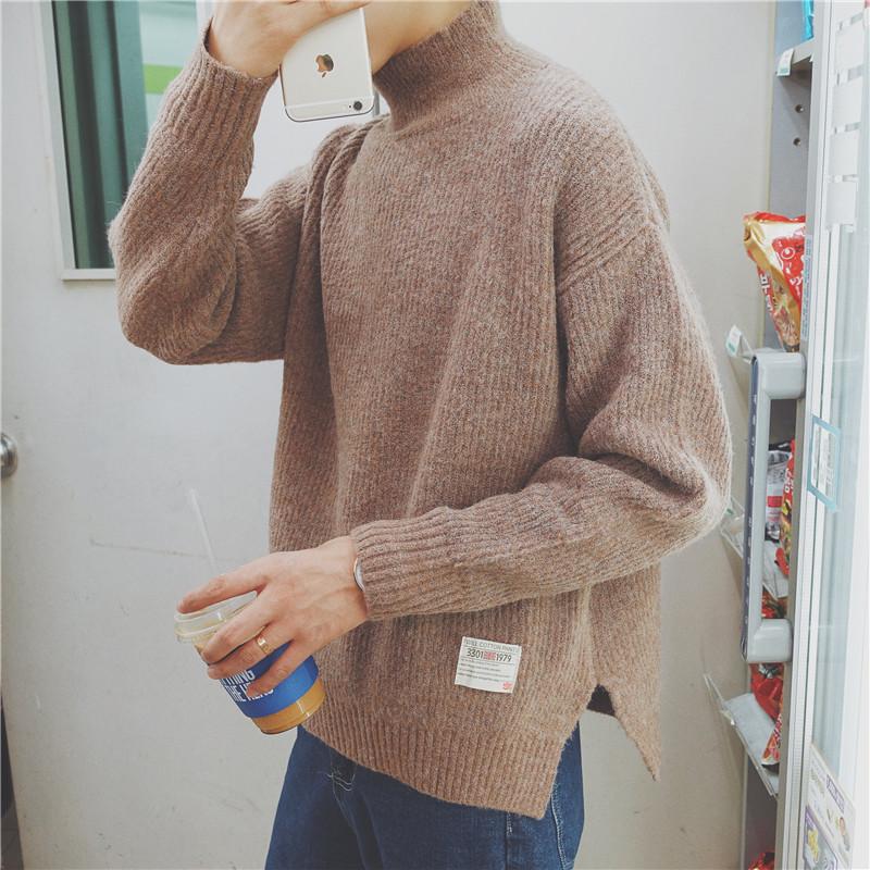 港仔秋冬韩版文艺男士修身半高领毛衣纯色针织衫男加厚毛线打底衫