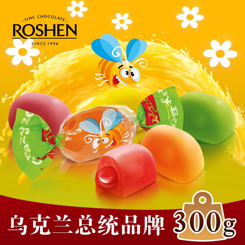 进口糖果300g水果汁混合味夹心橡皮糖休闲QQ软糖儿童生日小零食