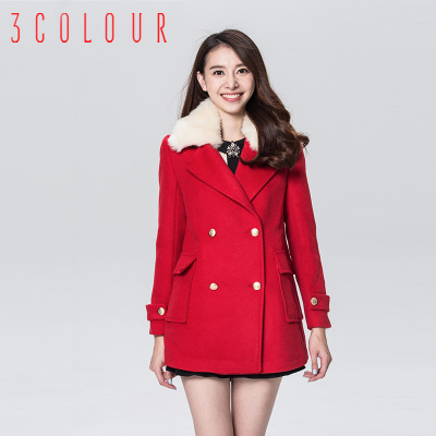 Three-color 2014 new authentic winter detachable fur collar double-breasted wool long coat