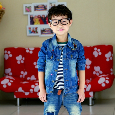 Kids Boys jacket spring and autumn 2014 new Autumn Korean children denim jacket free shipping big boy