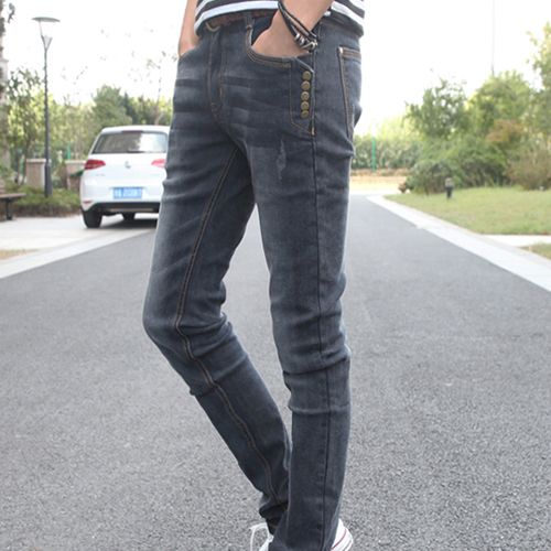 Korean version of the fall and winter trousers male taxi velvet jeans men's casual pants pencil pants feet Slim denim long pants