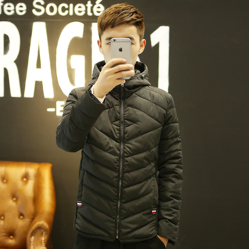 2015冬装薄款青年棉衣男士韩版修身棉服男大码冬天外套短款棉袄潮