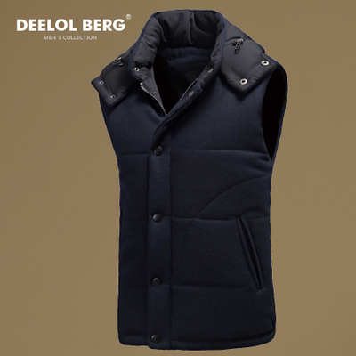 Diluoboge new winter men's Slim casual cotton hooded vest collar men's warm woolen waistcoat
