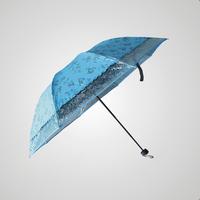 创意黑胶花朵接边透明蕾丝包边防紫外线三折遮阳伞礼品伞晴雨伞