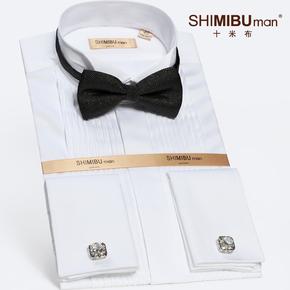 十米布男士长袖礼服衬衫燕子领结婚法式修身衬衣领结婚礼新郎衬衫