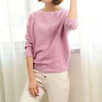2016秋季新品韩版女装勾花镂空蝙蝠衫长袖纯色宽松针织毛衣