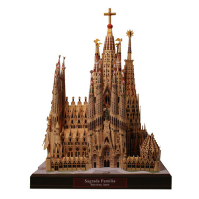 World Architecture hardcover printing Spain Sagrada Familia 3D paper model DIY full 68 shipping