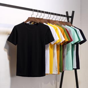 男士短袖t恤打底衫圆领纯色体恤纯白色黑色半袖夏季男装衣服