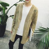 中长款针织衫男韩版宽松披风毛衣潮男毛线衫刺绣针织外套冬季风衣