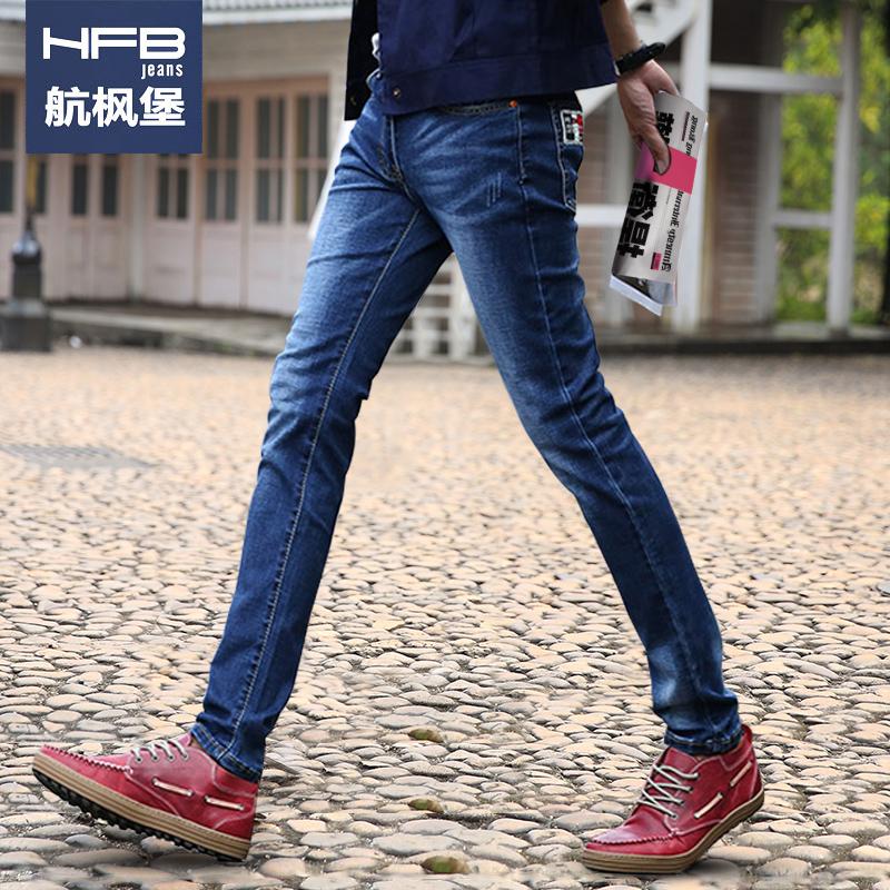 春夏季青少年男士牛仔裤弹力男生小脚裤男裤韩版修身直筒长裤子潮