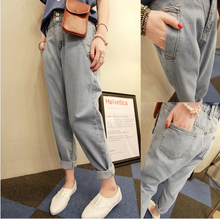 Han edition washing grinding show thin white BF do old wind light color easy leisure trousers jeans tide female haroun pants autumn and winter