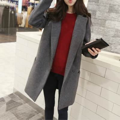 Girls woolen coat and long sections 2014 winter new Korean version of Slim thin woolen coat wool cocoon cape