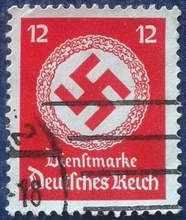 Nazi Germany stamps in 1934, the German empire swastika logo 12 pf pin
