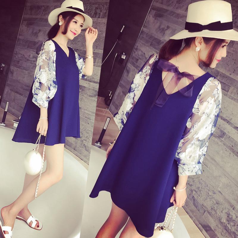 孕妇装夏装2015新款时尚韩版花朵灯笼五分袖A字裙显瘦孕妇连衣裙