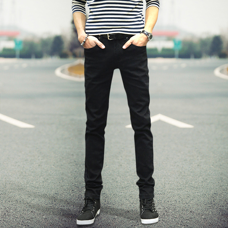 黑色男士弹力秋季牛仔裤韩版青少年学生修身小脚长裤 男潮流裤子