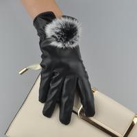 皮手套女冬可爱韩版触屏兔毛球秋冬季开车加绒加厚保暖户外骑车