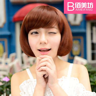 Bai America Square, the new female short hair wigs short curly hair fluffy oblique bangs sweet forcing wig jiafa