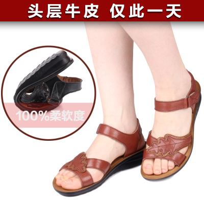 Mong Nai 2014 summer new leather shoes, flat with the middle-aged mom women large size flat sandals soft-soled shoes for the elderly