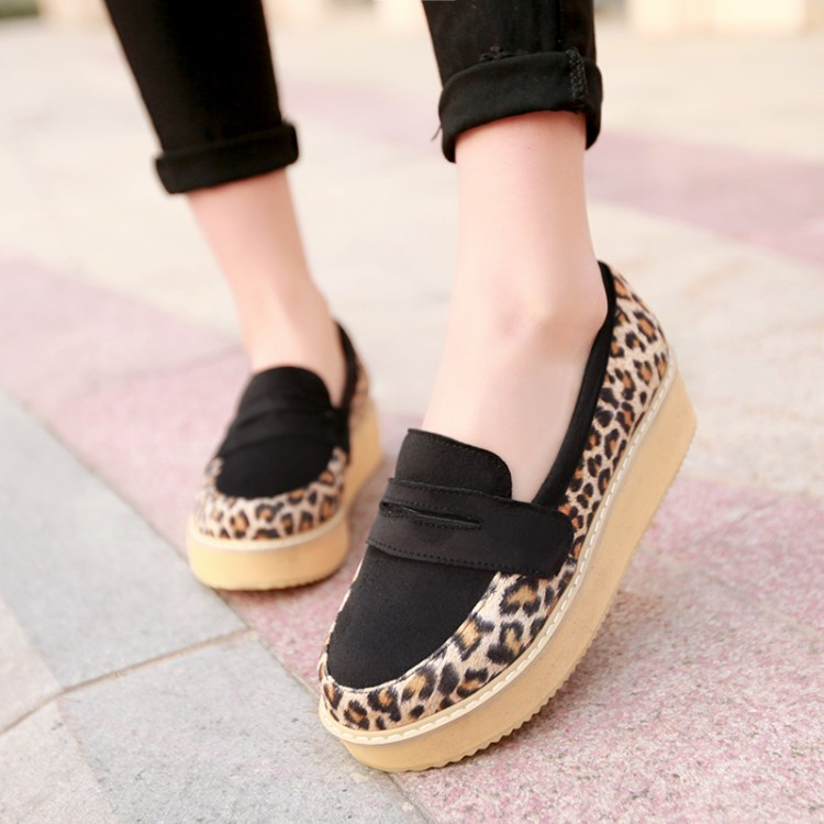 2014 Korean version of the new Leopard heavy-bottomed muffin shoes small yards 3233 casual shoes large size shoes 404143