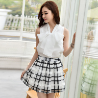 两件套装裙子 包邮2015新款夏季连衣裙韩版休闲女蝴蝶结格子短裙