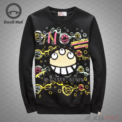 Demonic fruit lalabobo sweethearts qiu dong outfit and velvet printing personality graffiti coat sweater fleece single men and women