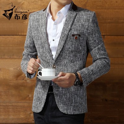 British style linen suit jacket Slim Korean men's casual suit jacket fall and winter clothes thick single West