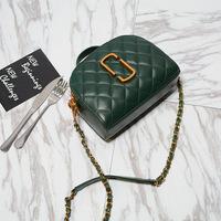 2017新款欧美真皮相机包女包羊皮菱格链条小方包时尚单肩斜挎小包