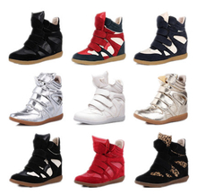 Star detonation model Han edition of Velcro increased in color matching single shoes sneakers leisure high help female shoes