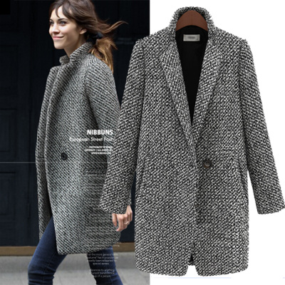 Houndstooth wool coat 2014 fall and winter clothes large size women's tartan coat sub-long section of the new Slim